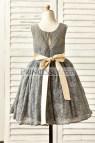 Grey Flower Girl Dress with Sash