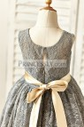 Champagne Flower Girl Dress with Lace