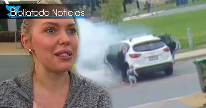 Mujer salva a sus dos hijos antes de que fueran consumidos por el fuego (Vídeo)