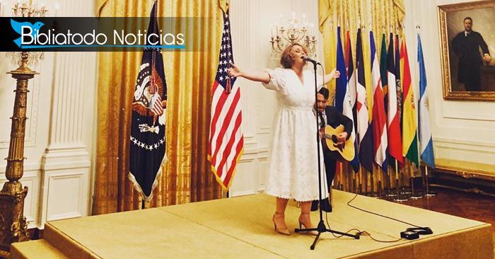 Salmista Christine D´Clario en la Casa Blanca