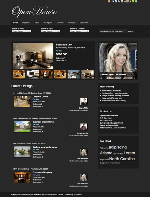 open house avjthemescom gorilla themes - OpenHouse Real Estate