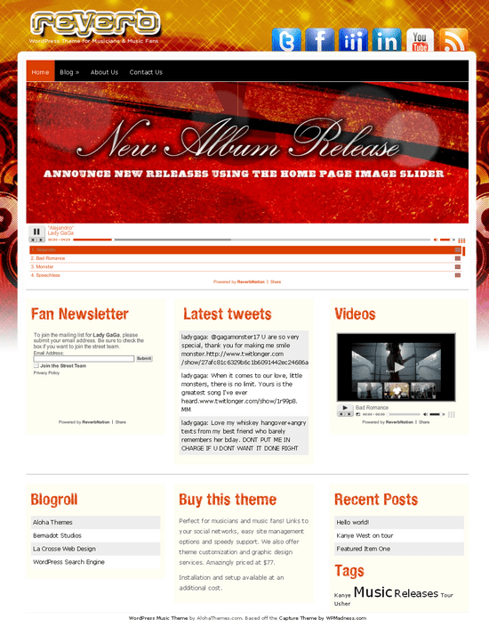 reverb aloha wordpress theme - Reverb Music Premium WordPress Theme