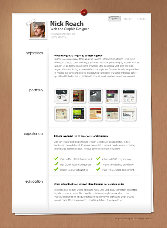 myresume elegant wordpress theme - MyResume Premium Wordpress Theme