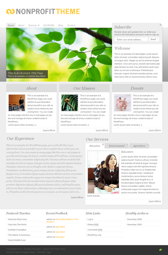 organic non profit wordpress theme - OrganicThemes Wordpress Themes