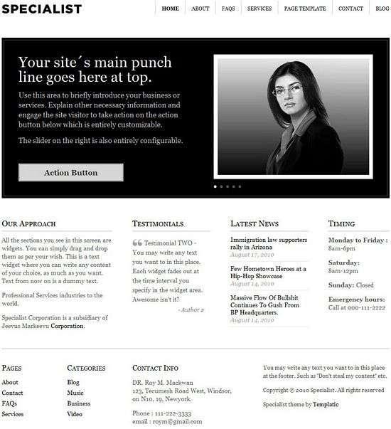 specialist templatic business theme - Specialist Premium WordPress Theme