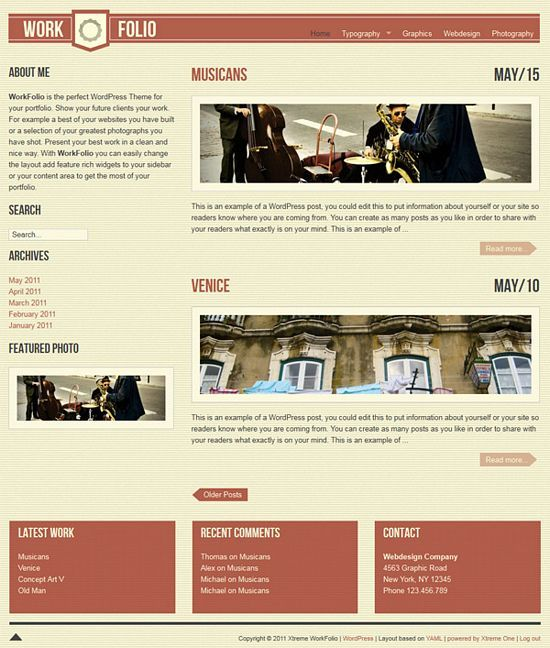 work folio xtreme avjthemescom - VintageFolio WordPress Theme