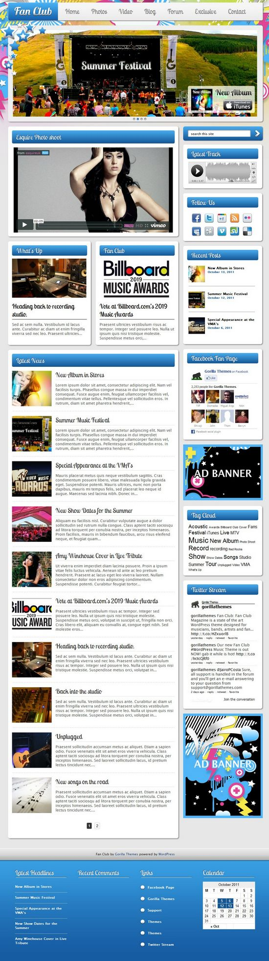 fan club gorilla themes avjthemescom - Fan Club WordPress Theme
