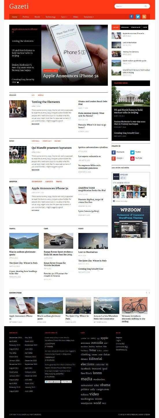 gazeti wpzoom avjthemescom 01 - Gazeti WordPress Theme