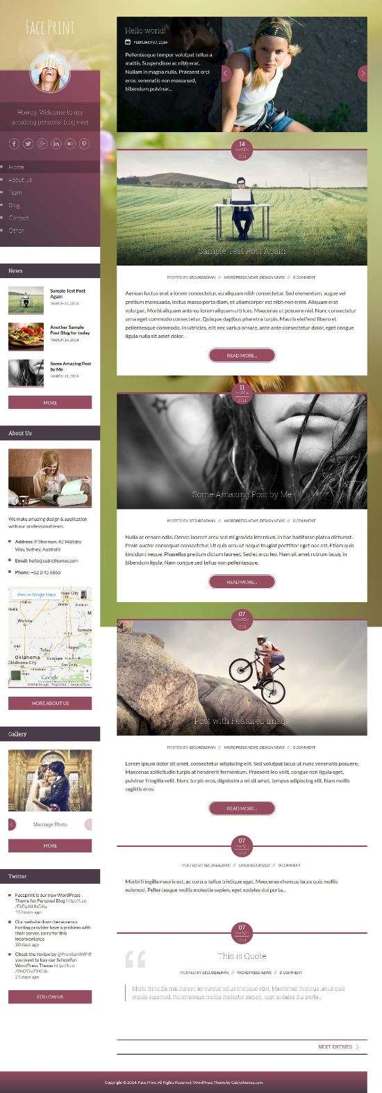 faceprint cubicthemes blog - FacePrint Premium WordPress Theme