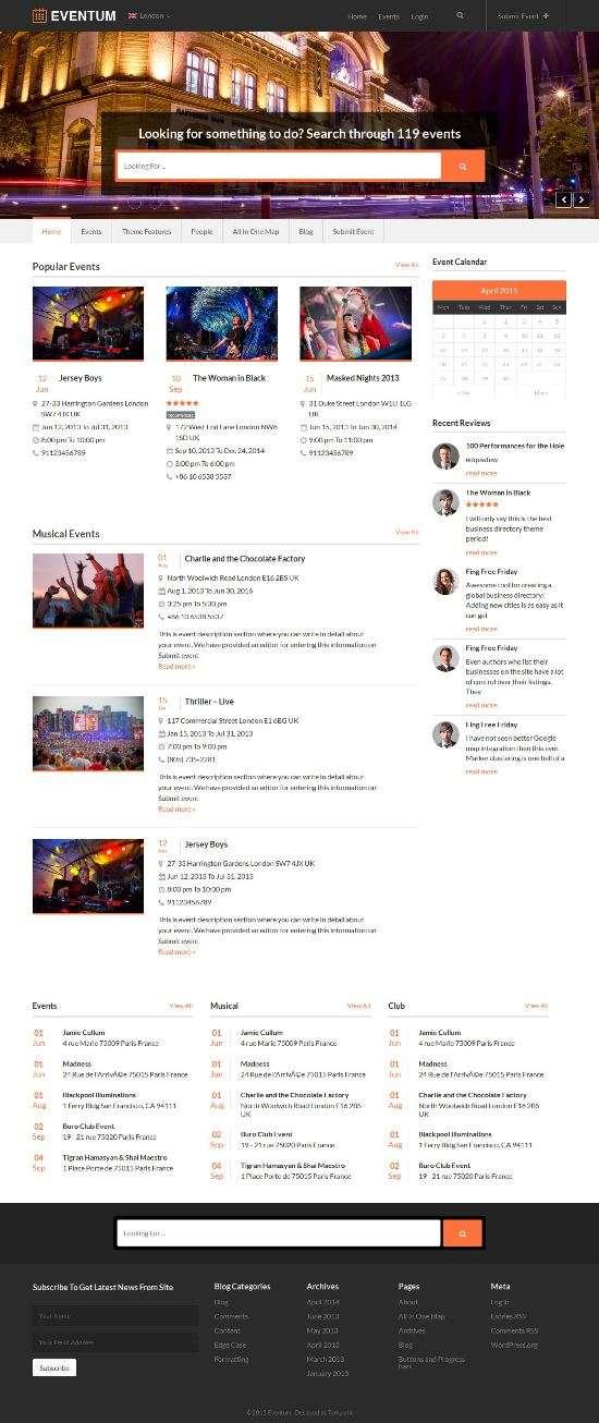 eventum templatic event management theme 01 - Eventum WordPress Theme