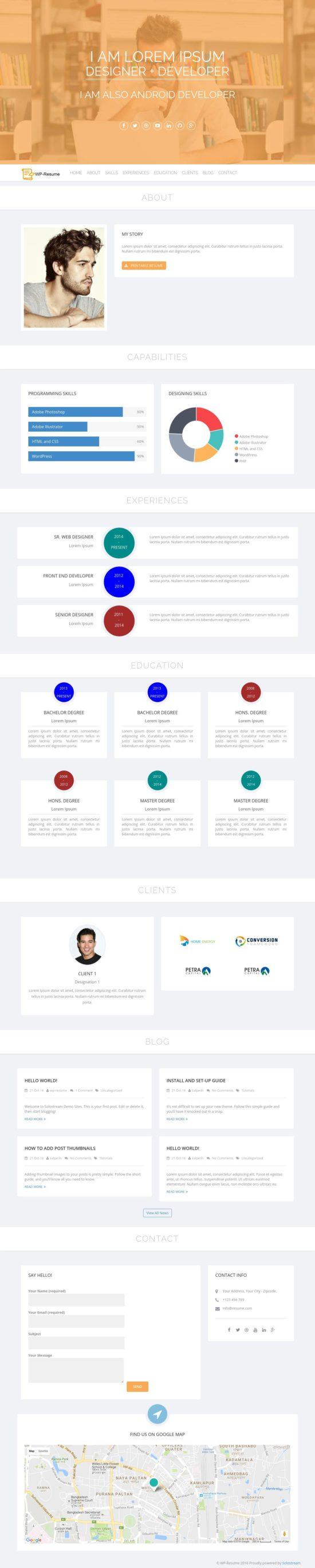 wp resume solostream wordpress theme 01 550x2735 - WP-Resume WordPress Theme
