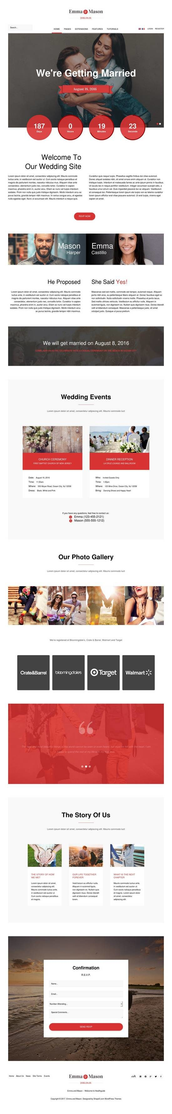emma and mason wedding shape5 wordpress theme 01 550x3552 - Emma and Mason Wedding WordPress Theme