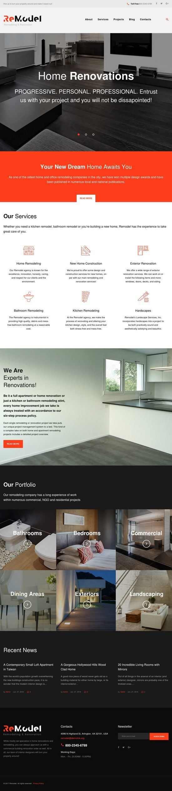 remodel interior design wordpress theme 01 550x2530 - Remodel WordPress Theme