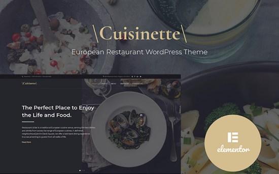 Cuisinette European Restaurant WordPress Theme