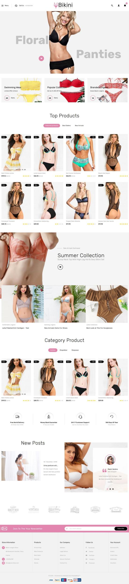 Swimwear PrestaShop Theme Preview