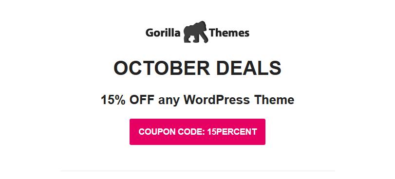 gorilla themes october 2019 01 - Gorilla Themes 15% Off On Any Theme (October 2019)