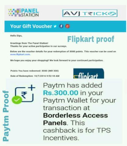Panel Station - Complete Short Surveys and earn Paytm Cash, Flipkart Vouchers (*Proof*)