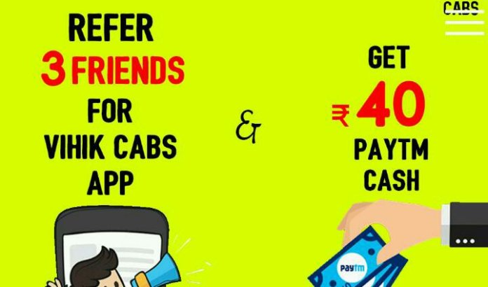 Vihik cabs paytm refer and earn