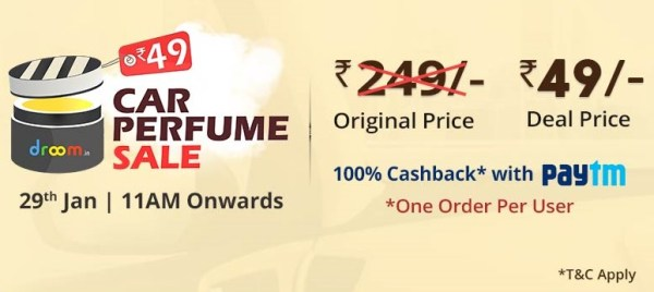 Droom Car Perfume Flash sale at only Rs 45 [100 % Cashback With Paytm ]