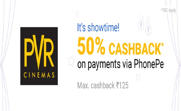 PhonePe PVR Cinemas Offer : Get 50% Cashback On Movie Tickets @ PVR
