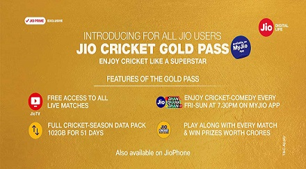 Jio Cricket Plan at Rs.251 – Daily 2GB Data For 51 Days + Free IPL Streaming