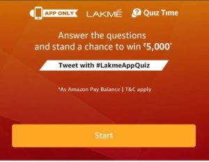 Amazon Lakme Quiz Answers - Participate and win Rs.5000 Amazon pay balance