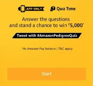 Amazon Pedigree Quiz Answers - Win Rs.5,000 Amazon pay balance
