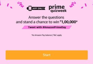 Amazon Prime Day Quiz Answers - Win Rs.1,00,000 amazon pay balance