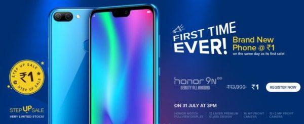 Honor 9N Flash Sale - How to Buy Honor 9N smartphone @ Just Rs.1