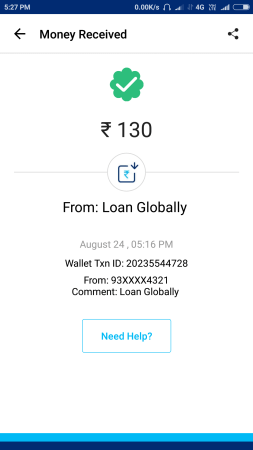 (Proof Added){*Loot*} Loan Globally - Get 30 Rs On Signup + 7 Rs Per Refer