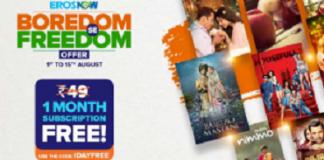 ErosNow Free Premium Subscription For 1 Month