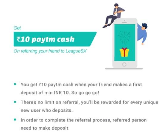 (*Maha Loot*) LeagueSX Website - Earn 10 Rs Paytm Cash Per Refer