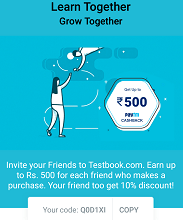 "TestBook App Coupon Code ""Q0D1XI"" Avail 10% Discount + Earn 20% Paytm cash"