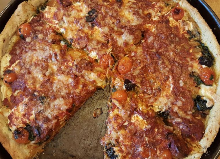 Homemade pizza with Cornmeal Crust