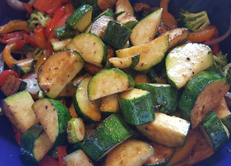 veggies in colandar