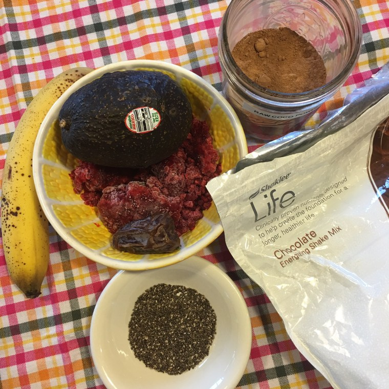 Raspberries, Chia Seeds, 1/2 Banana, 1/2 Avocado, Raw Cocoa Powder, Date, Pinch of Fine Sea Salt