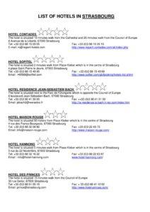 Liste indicative dhôtels à Strasbourg pdf 212x300 - Liste indicative d'hôtels à Strasbourg