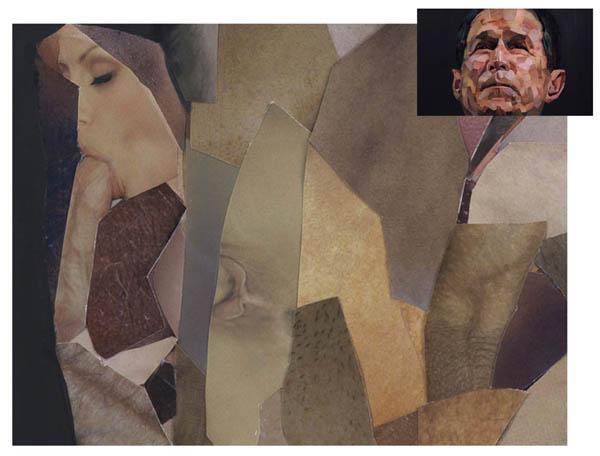 Le portrait de Bush, par Jonathan Yeo  - agrandissement oreille