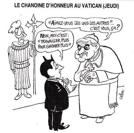 Pape Benoit XVI Nicolas Sarkozy Ségolène Royal par Cabu