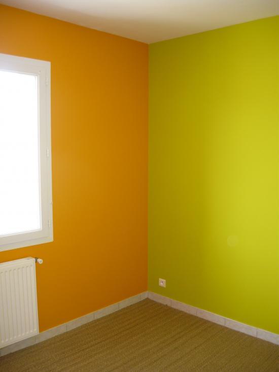 chambre orangevert avec jonc de mer