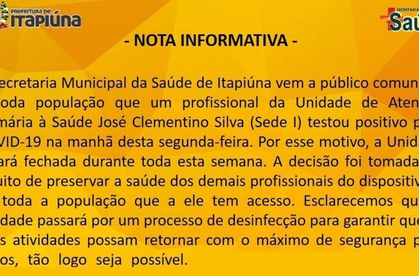 Secretaria da Saúde de Itapiúna divulga nota sobre a Unidade de Atenção Primária à Saúde José Clementino Silva (Sede I)