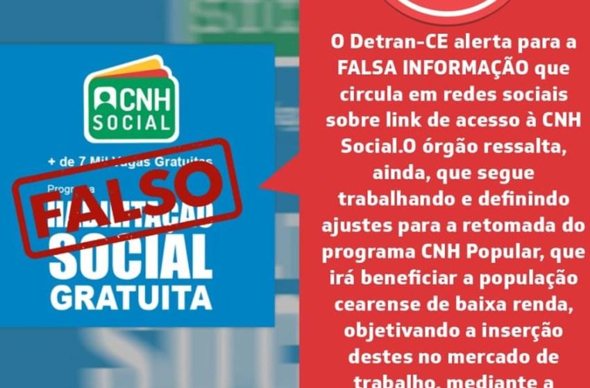 Detran-CE alerta para falsa informação que circula em redes sociais
