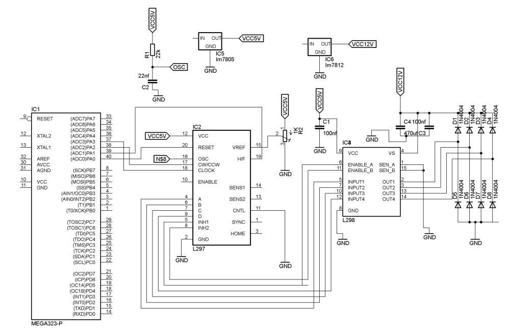 medium resolution of interfacing of atmega32 with l297 l298 and stepper motor avr freaks also stepper motor schematic on l297 stepper motor driver unipolar