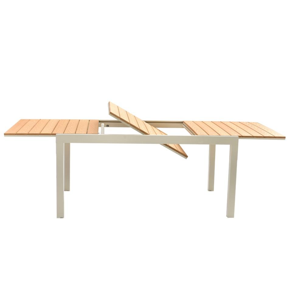 jardin avec table extensible gris