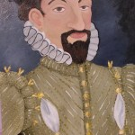 Oil painting of an Elizabethan gentleman, ruffed and puffed with a goatee.