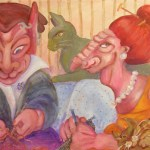 Painting of two monsters knitting, surroundd by cats
