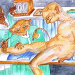 I had my defunct varicose vein lasererd out, this is a paining of that, only we are all monsters.