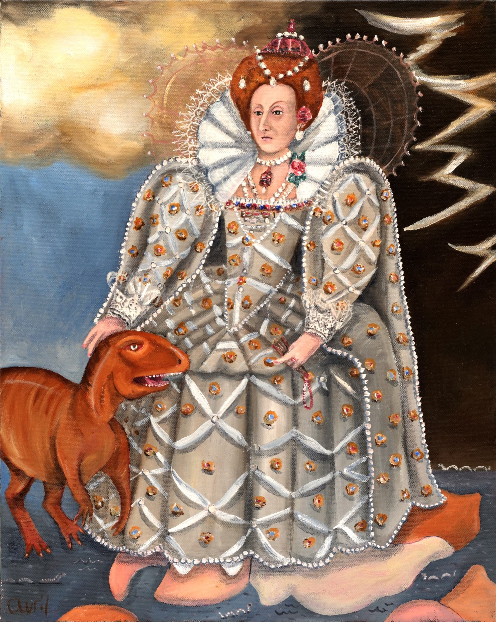 Elizabeth I stands on a giant map of Gondwanaland, with a dinosaur known as Ozraptor. Oil painting of British royalty and dinosaur by Avril E Jean