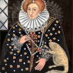 Portrait of Elizabeth I with her pet ichtyostega, the exinct amphibian. Oil painting of British royalty and dinosaur by Avril E Jean