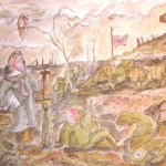 Setting up topaintin themiddle of a war zone. WWI